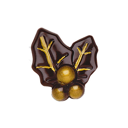 double holly leaf 3,5cm dark with gold