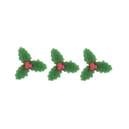 holly leaf 2cm  red, green