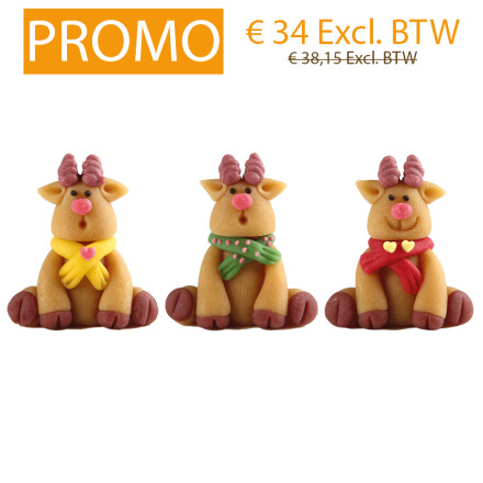 reindeer with scarf 4cm