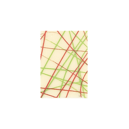 plate white, green red lines 3,5x2,5cm