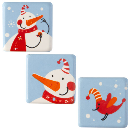 plate snowman with bird 3 cm