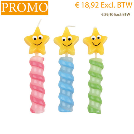 blister candle stars h8 cm