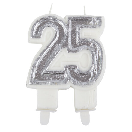 candle silver 25 years h5 cm