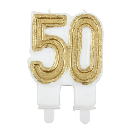 candle gold 50 years h5 cm