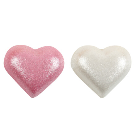 half heart white - pink perly