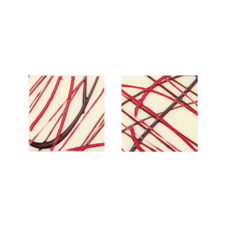 plate white 3x3cm with red&black lines