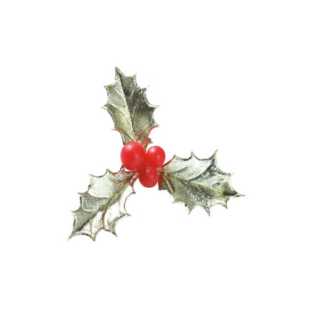 holly leaf 3lea. with berries 6cm plast. gold