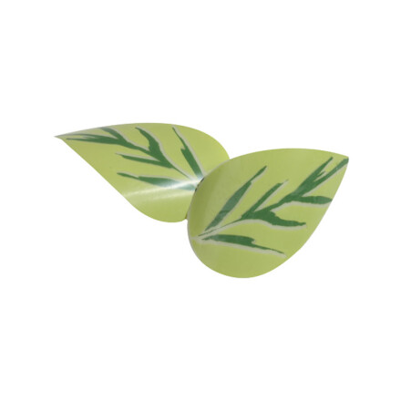 leaf curled 3cm white  green drawing
