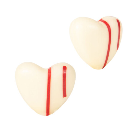 Heart white with red lines 3 cm