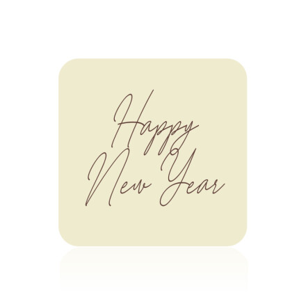 Plate Happy New Year 3x3 cm