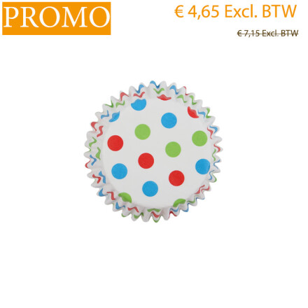 Cupcakepaper small dots colorful H 3,2x5cm