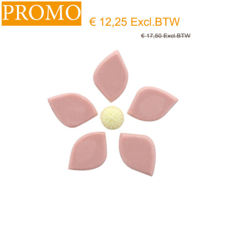promo*flower pink with heart 3,5x2,5