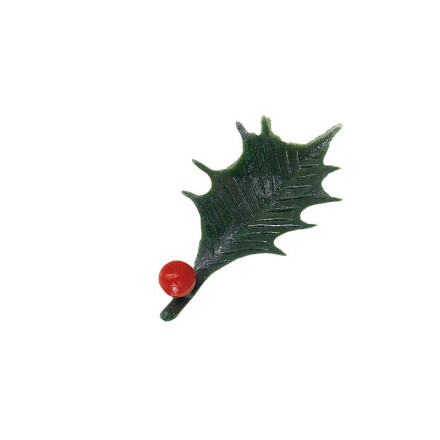 mini holly leaf with berry 4,5cm plastic