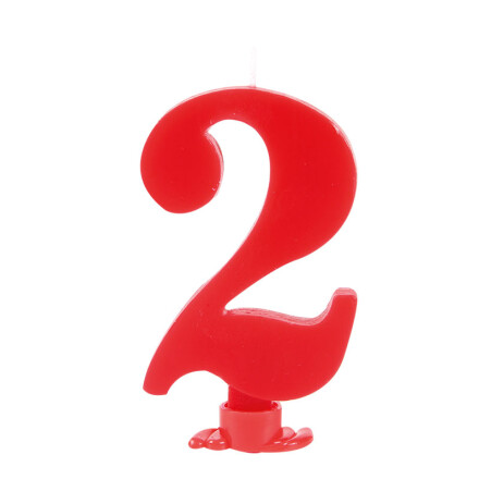 number candles 7.5 cm red no 2