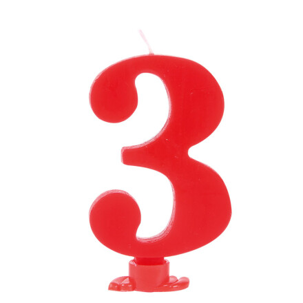 number candles 7.5 cm red no 3