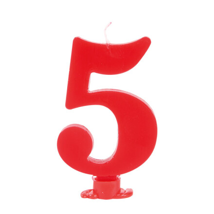 number candles 7.5 cm red no 5