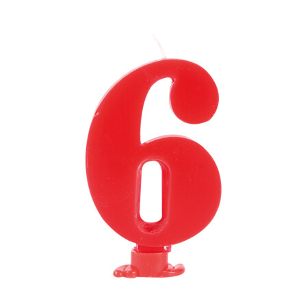number candles 7.5 cm red no 6