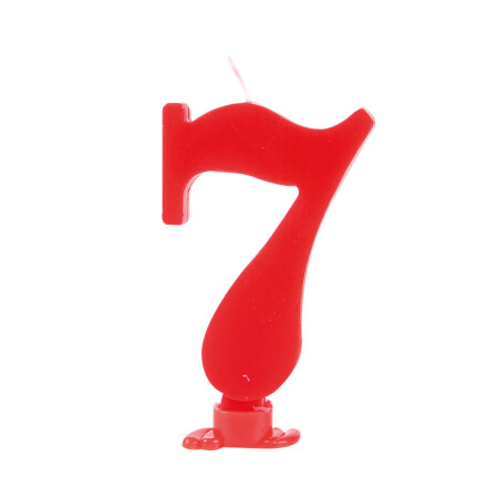 number candles 7.5 cm red no 7
