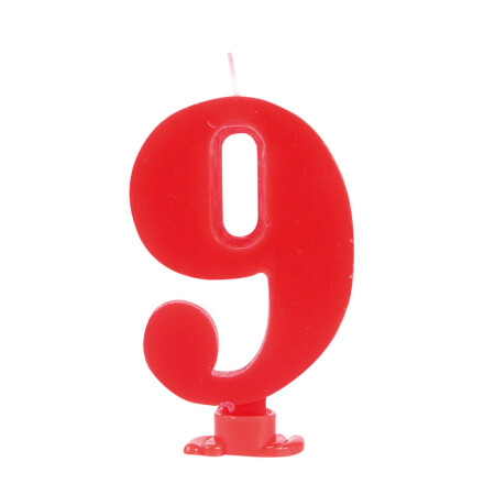 number candles 7.5 cm red no 9